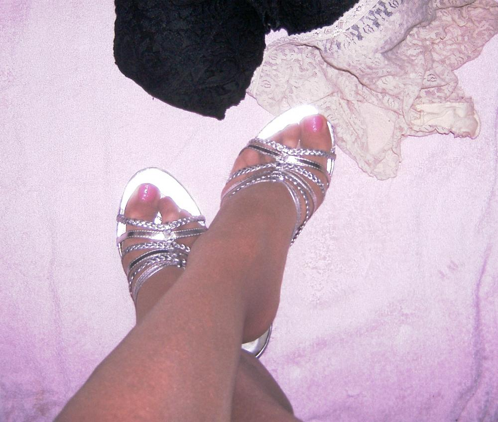 Lexi pink toes and silver shoes black bra and white panties.jpg